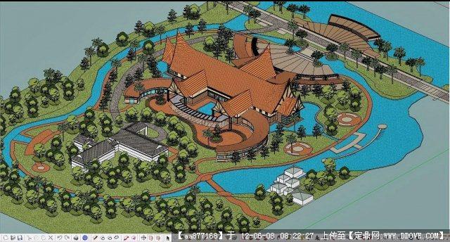 东南亚建筑风格的度假酒店 景观规划 附渲染图片