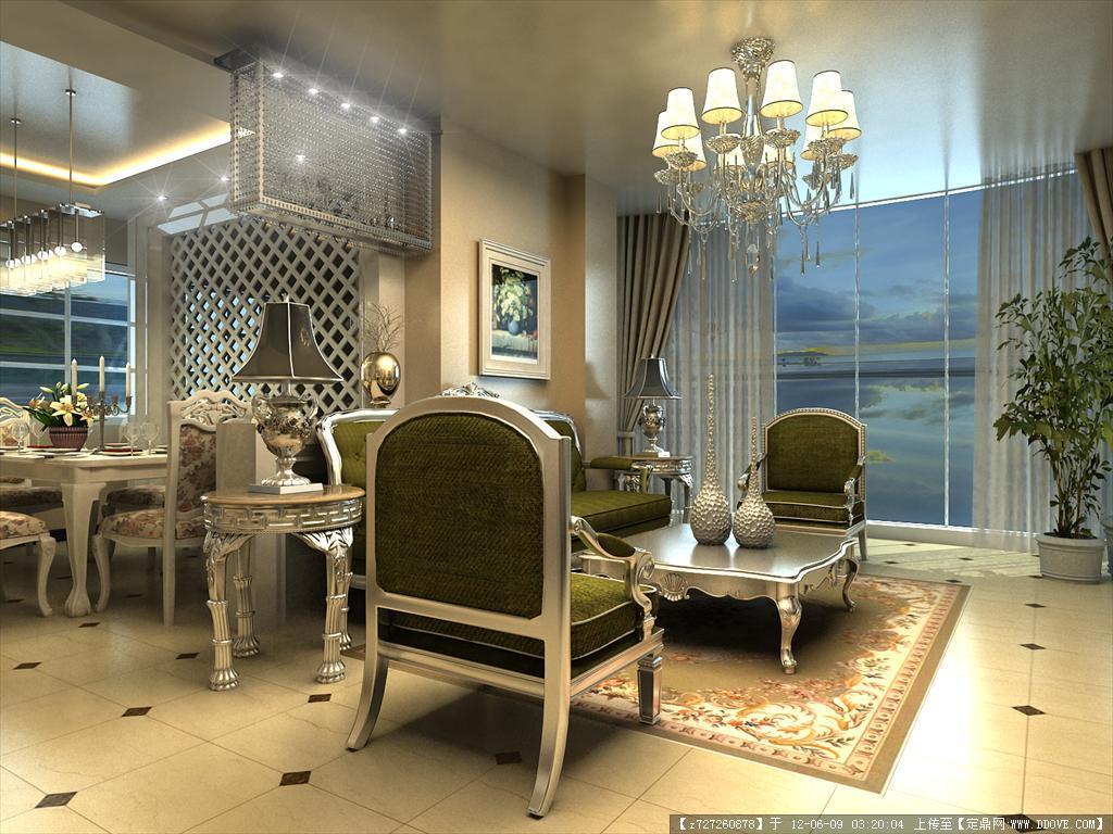 现代家装欧式客厅-餐厅