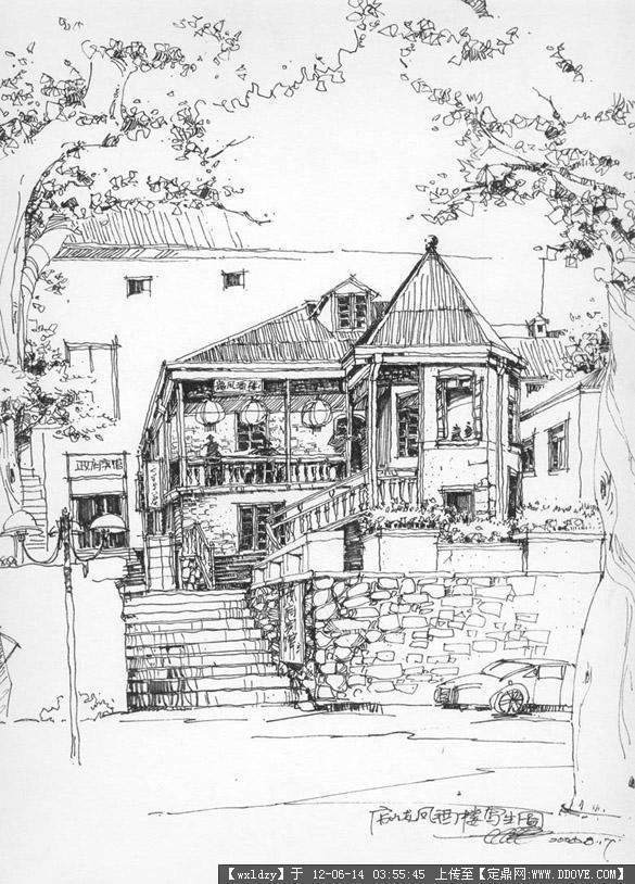 黑白手绘线稿图的下载地址,园林效果图,手绘效果,园林