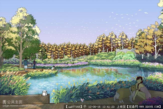 定鼎网 定鼎园林 园林效果图 居住区 灰晕作品——su渲染景观设计效