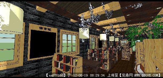 su室内渲染效果图_su渲染效果图,3d渲染室内效果图图片; 咖啡书吧装修