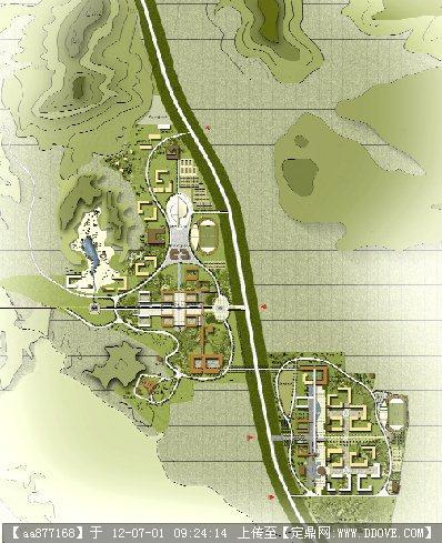 高清学校景观分层psd彩平面图