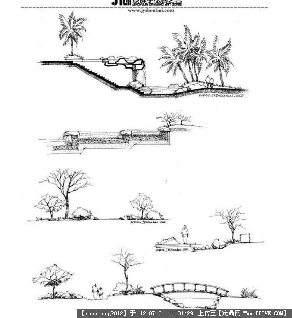 马克笔画,钢笔草图的图片浏览,园林效果图,手绘效果,园林景观设