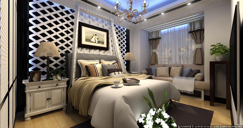 室内家装设计效果图-莱茵城3期住宅设计——主卧.