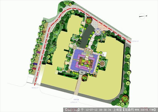 小区绿化总平图()建筑设计柱网排布图片