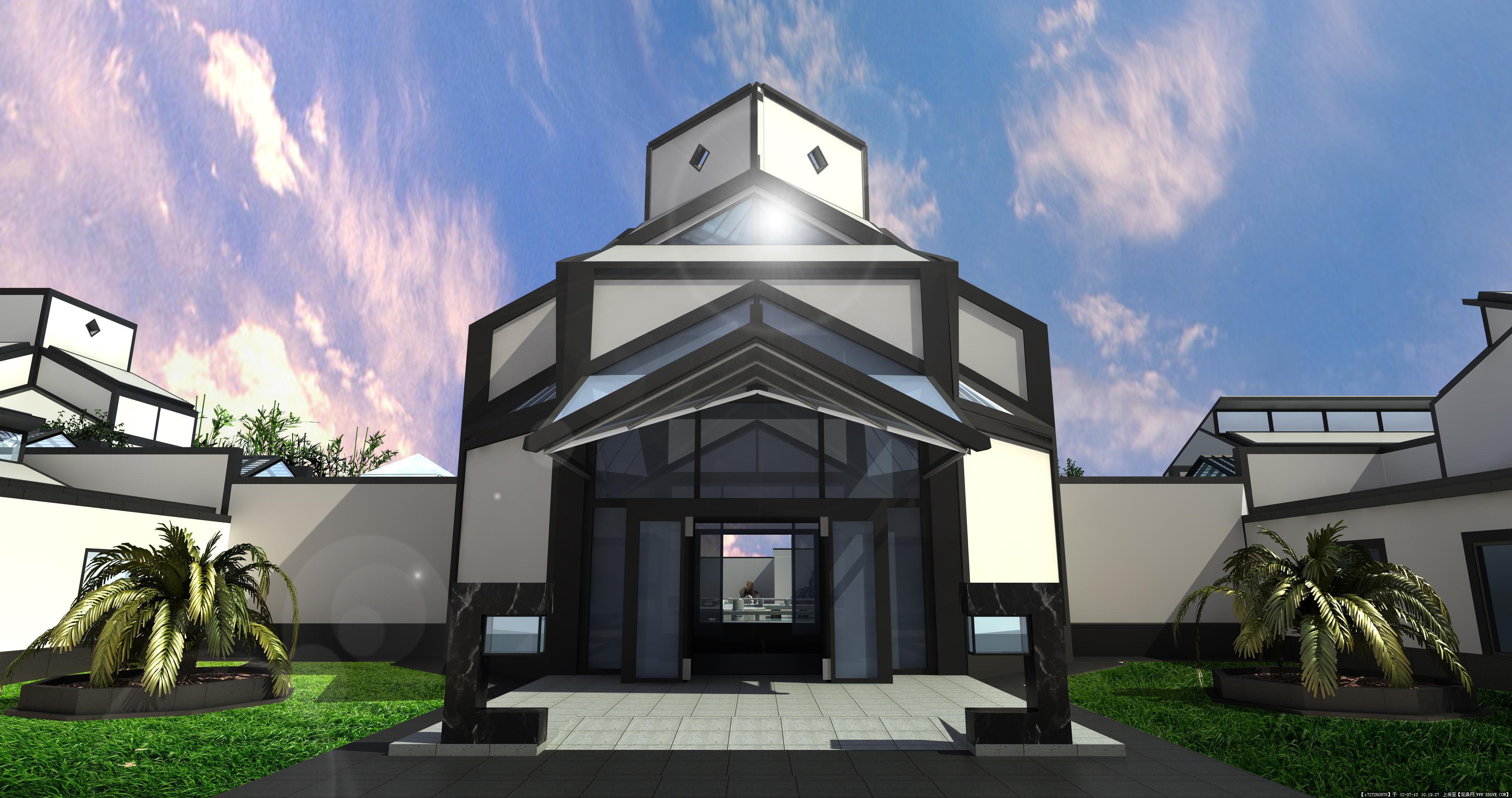 室内家装设计效果图-意大利博物馆之仿苏州博物馆之室外正门主建筑.