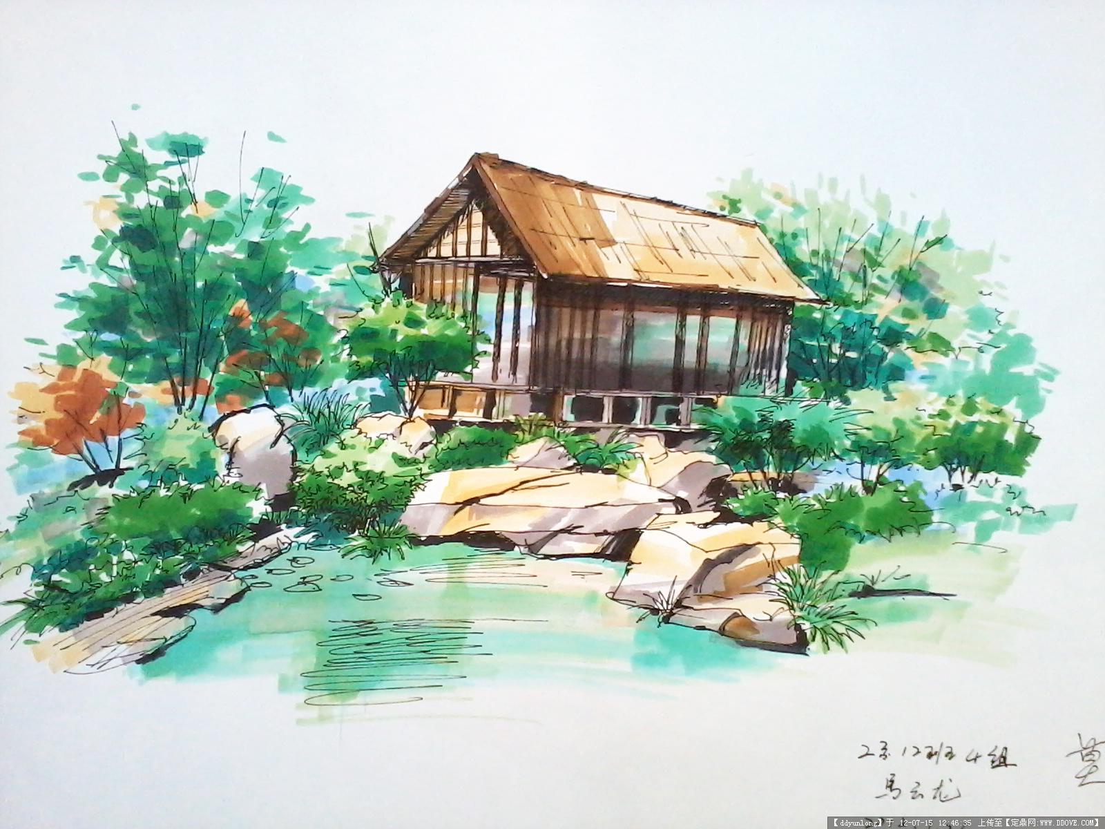 马工手绘作品2的图片浏览,园林效果图,手绘效果,园林