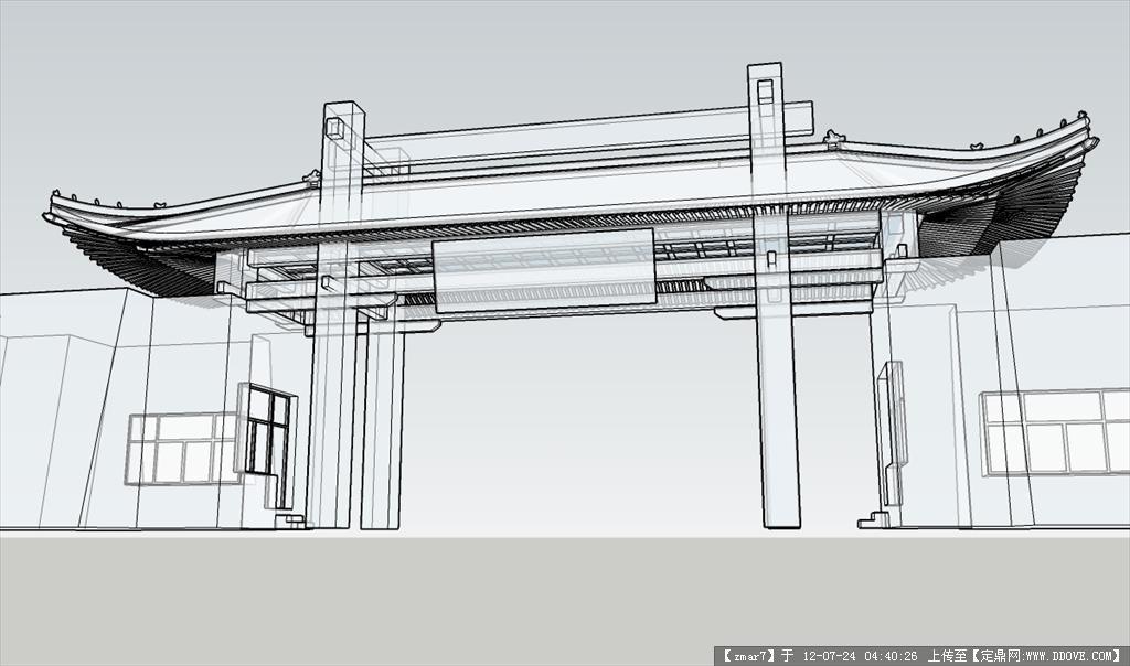 古建筑大门精细sketchup模型(坡屋顶)