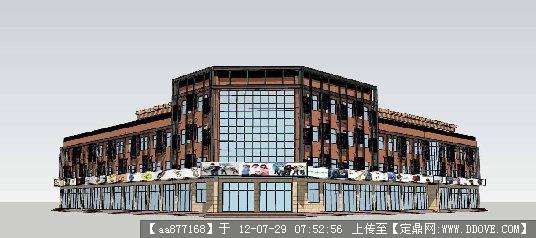 沿街商业建筑改造方案su精美模型