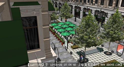 欧式商业步行街建筑与景观设计方案su精美模型
