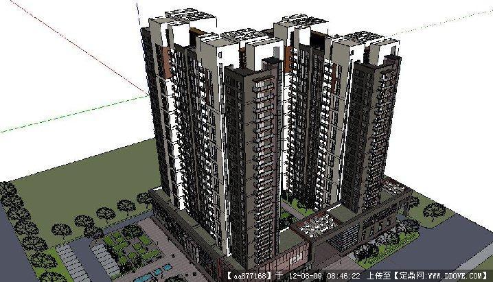 一组现代高层住宅 商业的su极品模型 高清图片