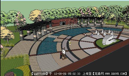 于洪新城休闲广场鸟瞰效果su精致大场景模型