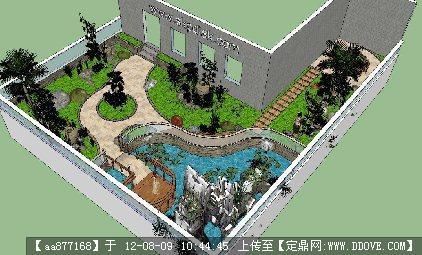 别墅私家花园景观设计su场景模型