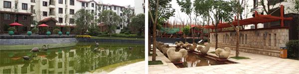 可爱的动物水景 8月9日消息:小区入口处,一片草坪中创造性地构勒出了紫金东郡四个大字;随着缓缓而上的道路前行,两侧高大的香樟、喷涌的流水、洁白的石子,清凉的感觉扑面而来;再往里走,一座大型的石雕喷泉水流四溢,与地面的花纹铺装相互映衬,更显大气。简洁的构图,灵动的风景,让人忍不住想走进去探寻更多。 这就由杭州市园林绿化工程有限公司承建的紫金东郡住宅区园林绿化工程,入口处的开篇之作,已经有一种引人入胜的感觉。据项目负责人杨升超介绍,紫金东郡工程项目位于南京紫金山脚下的徐庄软件园内,主要施工内容包括硬质