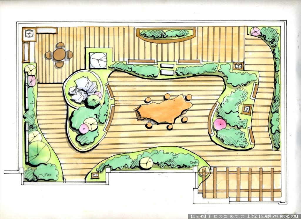 屋顶花园cad,平面效果图