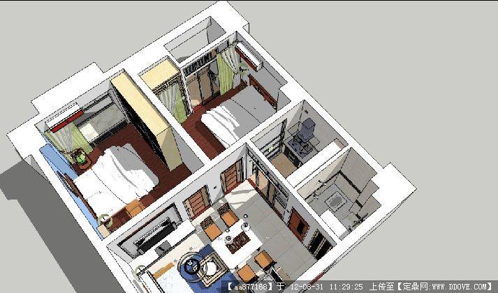 一套兩居一廳戶型su精美室內裝飾模型的下載地址