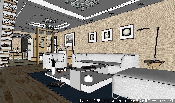 简约欧式风格su室内装饰精品模型图片