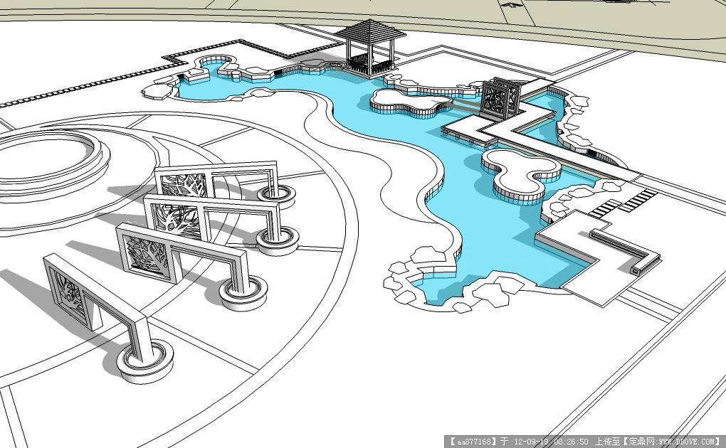 公園濱湖廣場景觀設計方案su場景表現模型