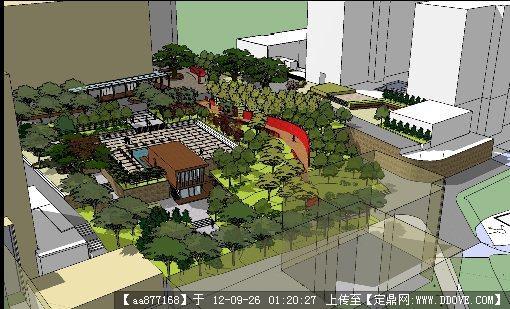 小区中庭景观设计su场景模型(灰晕风格)