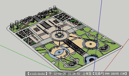 城市广场景观su模型