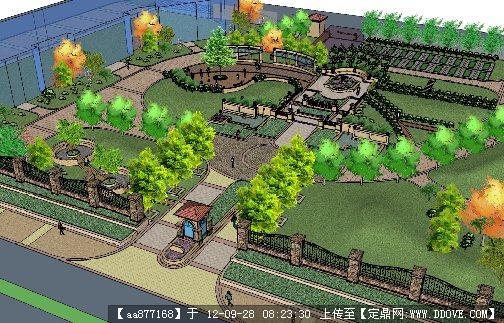 欧式风格庭院su景观设计模型