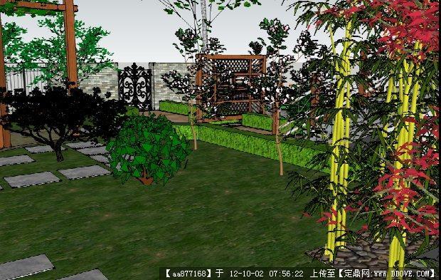 别墅小庭院景观设计方案su精美模型