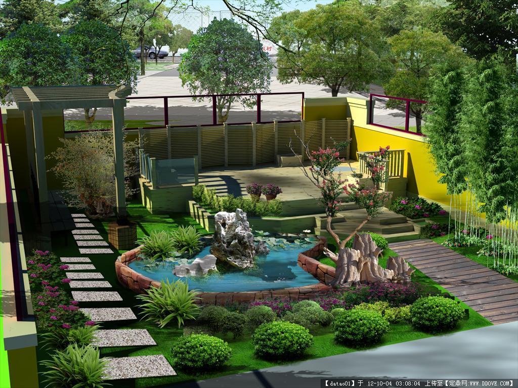 庭院效果图的下载地址,园林效果图,花园庭院,园林景观