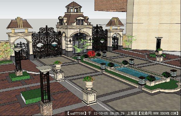 欧式风格小区入口su建筑模型