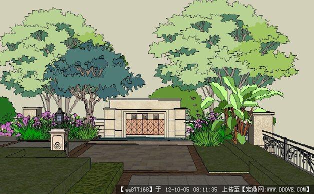 欧式威尼斯风格办公楼室外景观设计su场景模型图片
