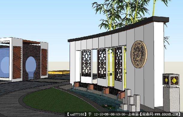 仿古的小区入口su建筑与景观设计模型