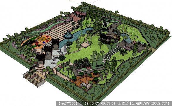 居住区屋顶花园景观规划设计su精细模型