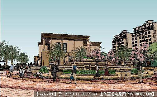 欧式小区整套建筑与景观设计su方案模型
