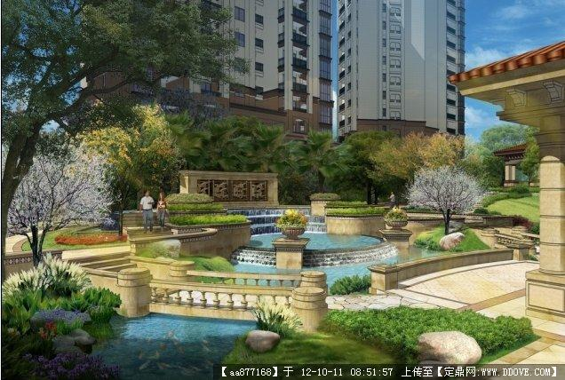 欧式小区中庭景观设计方案su模型