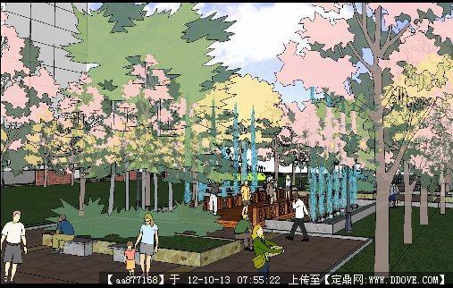 校园中心广场景观设计su精品模型