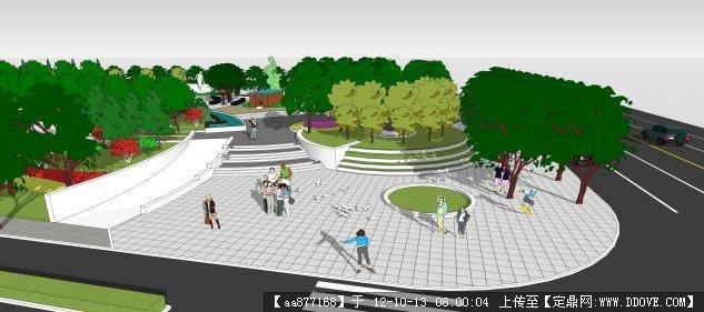 街头小游园su景观设计方案精品模型