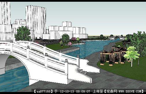 滨河景观带设计方案su精细模型