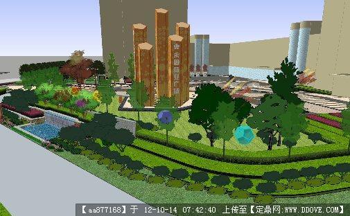 商业广场景观设计su精品模型