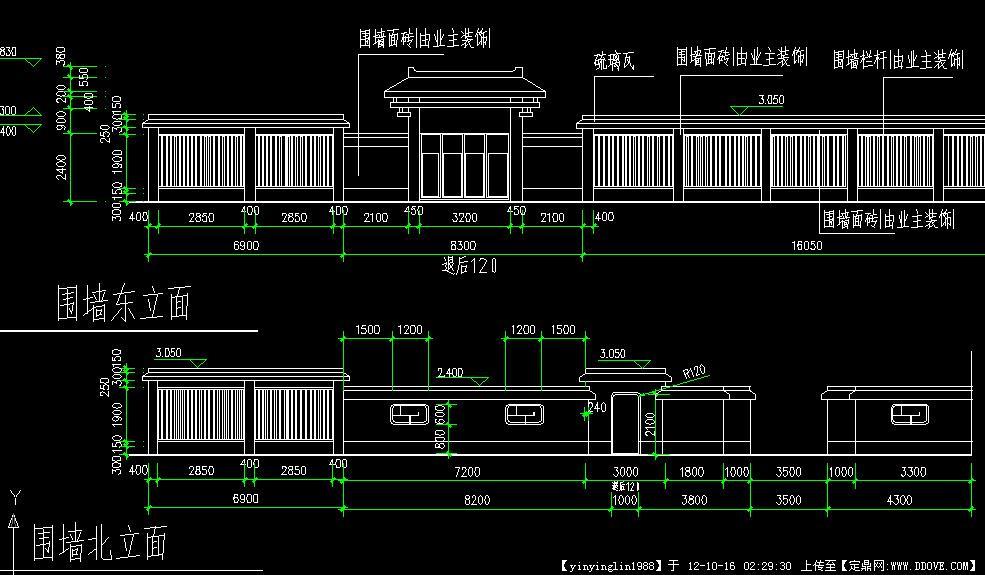 别墅围墙效果图_中式围墙cad图纸