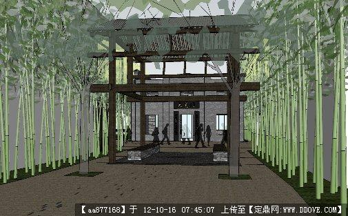沿街商业中心su精品建筑与景观设计模型组合 高清图片