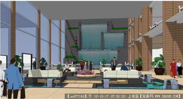 酒店大堂景观设计su精品模型