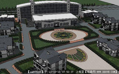 别墅式酒店su建筑与景观规划设计su模型