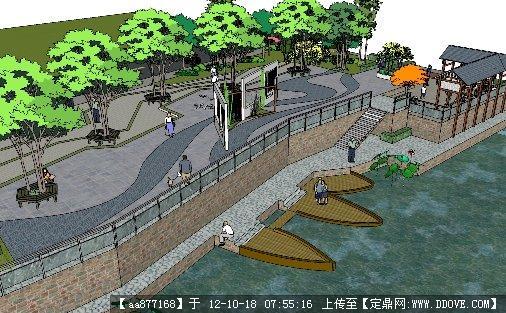 滨水小广场景观设计su精细模型