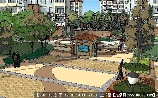 小区入口景观节点设计su细致模型
