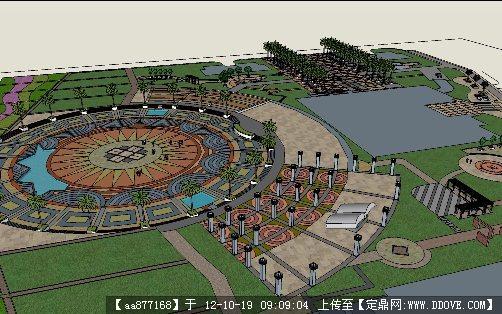广场景观设计方案su精致模型