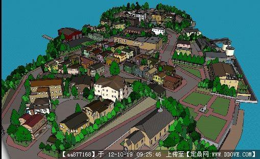 欧式小镇su建筑规划设计方案