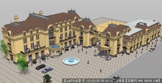欧式商业街su精美建筑模型