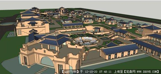 中式水疗spa会所 建筑与景观规划设计su精品模型