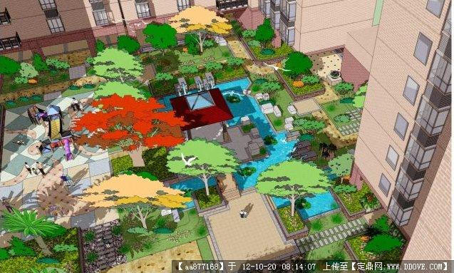 一个小区花园景观设计su场景模型