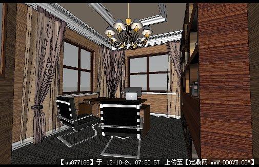 细致的书房su室内装饰模型