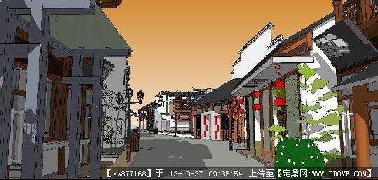 仿古的古建商业街su精品建筑模型图片